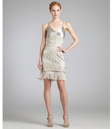 Sue Wong platinum beaded and jeweled ostrich feather trim dress