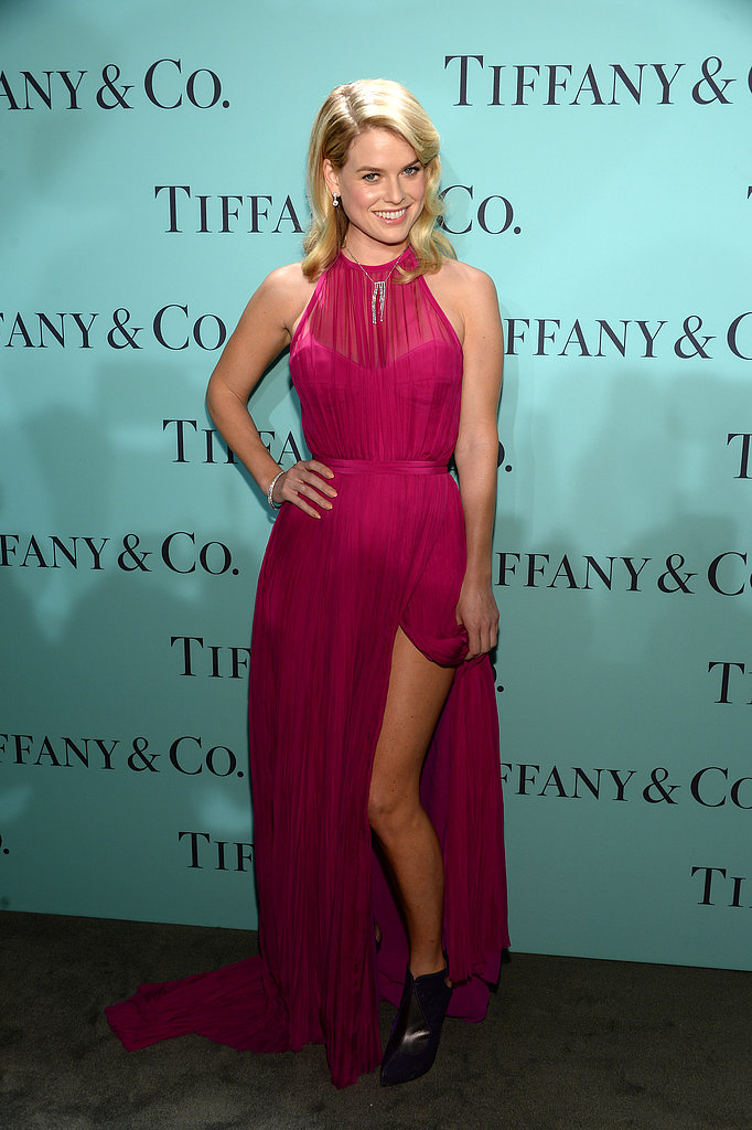 Alice Eve gave her pink silk Emilio Pucci dress a more modern touch with her slingback Gio Diev ankle boots.