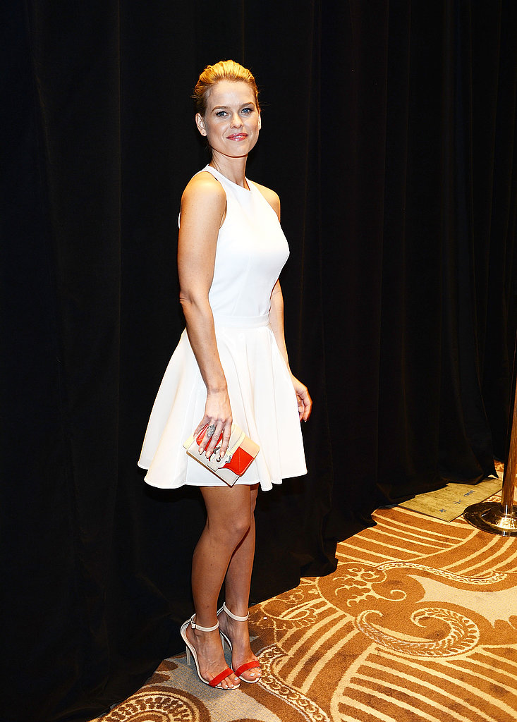 During CinemaCon's opening-night party, Alice Eve was undeniably Spring fresh in a little white fit-and-flare dress by Amen. We love the pops of color she incorporated with her colorblocked Paula Cademartori clutch and two-toned ankle-strap sandals.