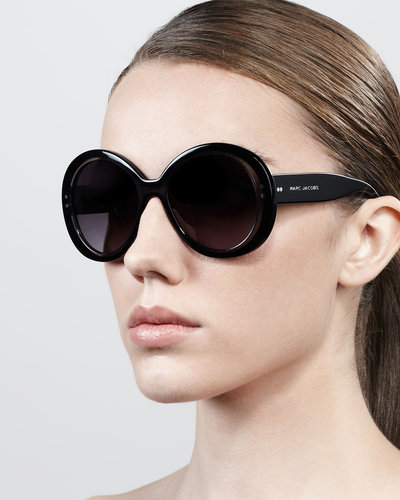 Marc Jacobs Thick-Rim Round Sunglasses, Black/Gray