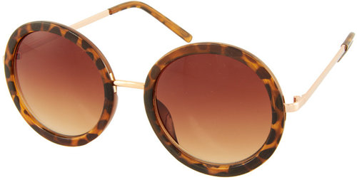 Jeepers Peepers Erika Tortoise Shell Round Sunglasses
