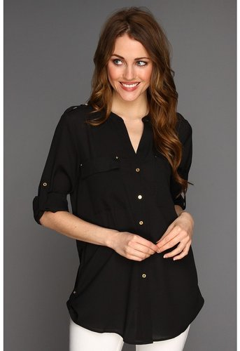 Calvin Klein - Crew Neck Roll Sleeve Blouse (Black) - Apparel