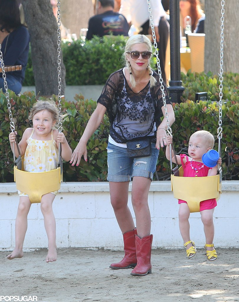 Tori Spelling gave her daughters, Stella and Hattie McDermott, a sweet push at an LA park.