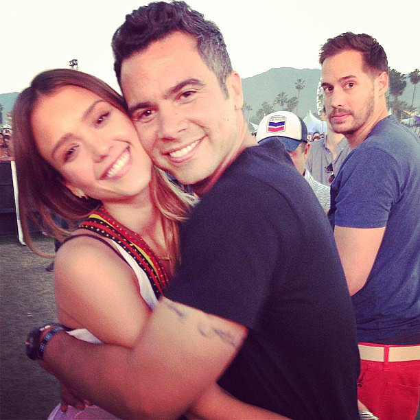 Jessica Alba and Cash Warren shared a hug while enjoying the Coachella vibe. Source: Instagram user cash_warren