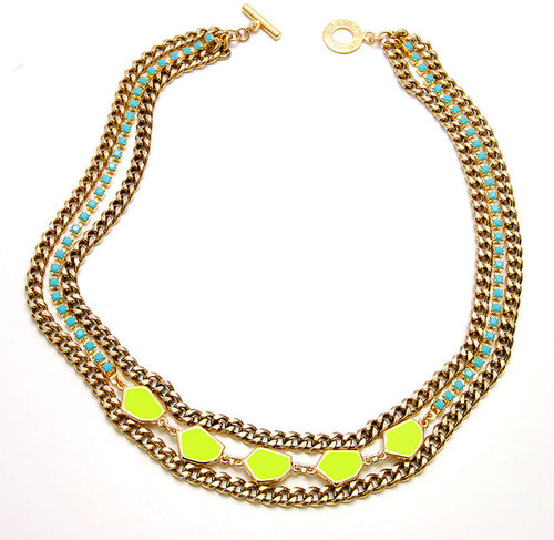 Janna Conner Malia Necklace, Neon Yellow Enamel/Turquoise Crystal 1 ea
