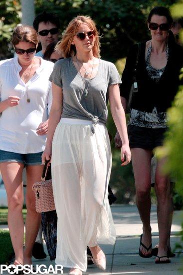 Jennifer Lawrence wore a sheer skirt.