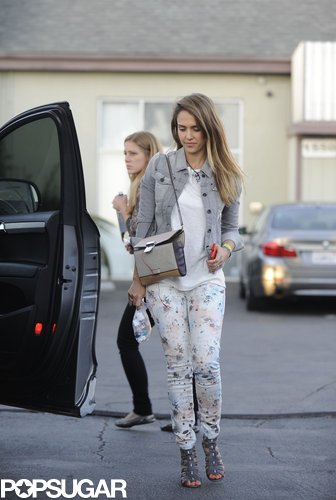 Jessica Alba doubled up on denim in a gray jean jacket and floral-print skinny jeans while heading to her Santa Monica, CA, office.