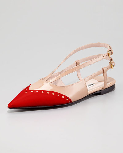 Miu Miu Patent Bicolor Ballerina Flat, Red/Nude