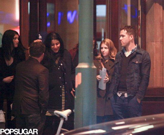 Gemma Arterton, Anna Kendrick, and Ryan Reynolds left dinner in Berlin.