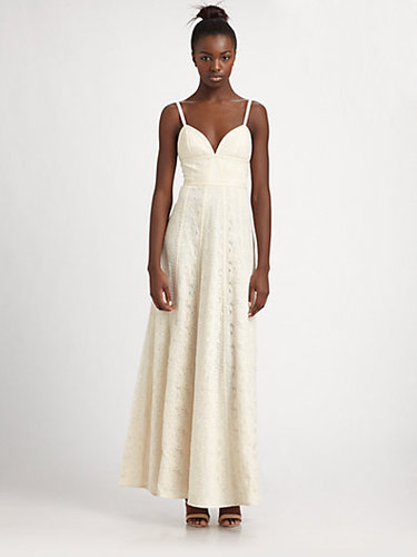 BCBGMAXAZRIA Lace Panel Maxi Dress
