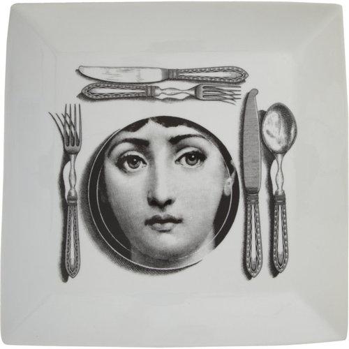 Fornasetti Posate Design Ceramic Square Plate