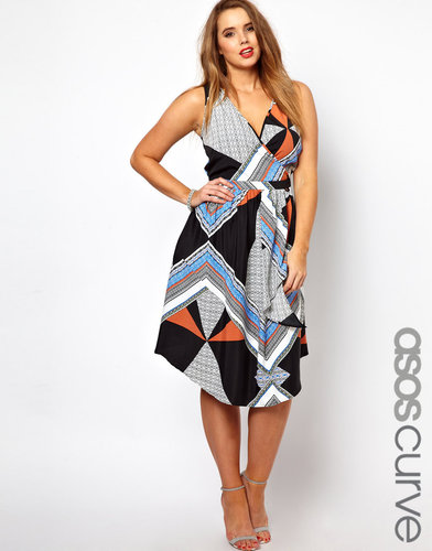 ASOS CURVE Exclusive Midi Dress In Scarf Print