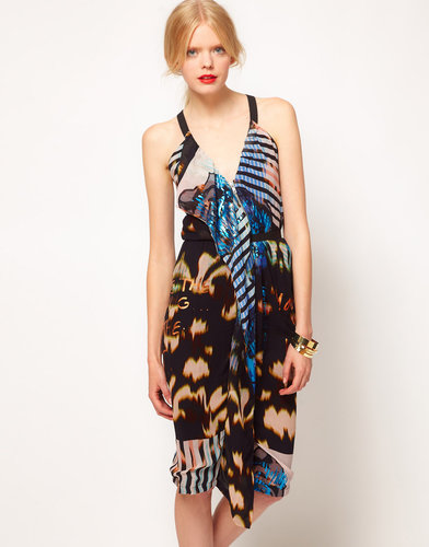 ASOS BLACK Halter Dress In Print