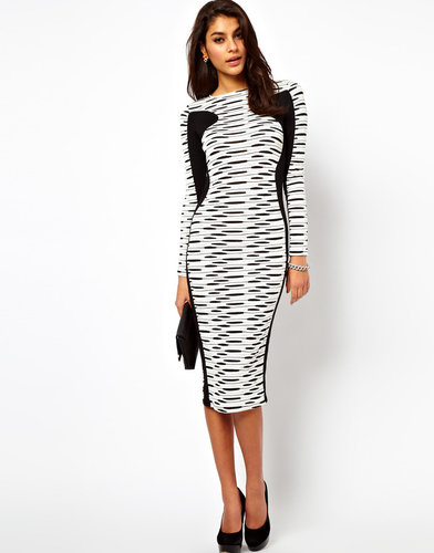 ASOS Midi Body-Conscious Dress In Stripe