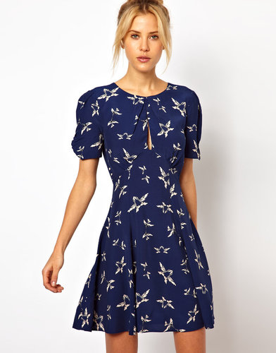 ASOS Skater Dress In Bird Print With Keyhole Detail