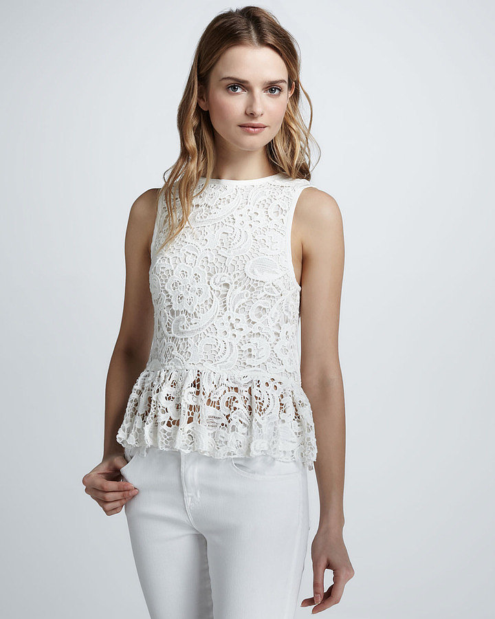 The lace and fresh white hue make this Dolce Vita Anja Lace Peplum Top ($165) the perfect piece to spruce up all of your Spring outfits.