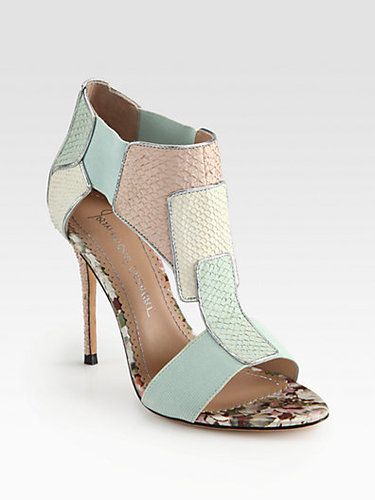 Jean-Michel Cazabat Octavia Salmon Skin & Metallic Leather-Trimmed Sandals