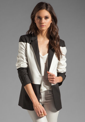 Elizabeth and James Colorblock Blazer in Black/Ivory