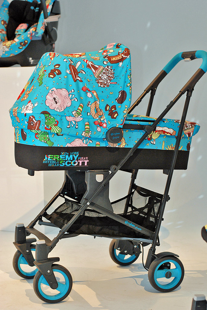 A Cybex by Jeremy Scott Callisto three-in-one stroller system.