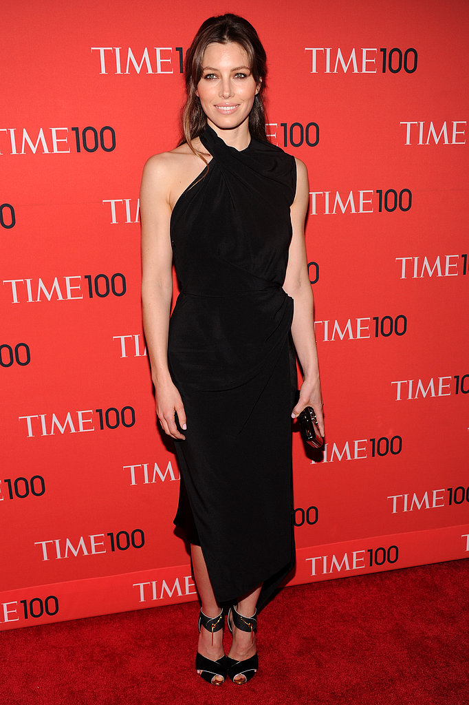Jessica Biel accompanied Justin Timberlake to last night's Time 100 celebration, and she looked nothing short of chic. Her asymmetrical black Tom Ford dress — complete with slick Tom Ford clutch and sandals — provided the perfect cocktail attire. To finish, the brunette beauty wore Lorraine Schwartz jewels.