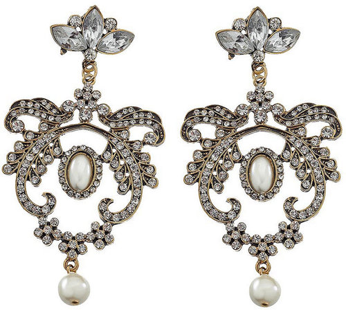 Stone set ornate drop earring