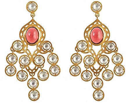Divya Diamond Crystal and Garnet Earrings