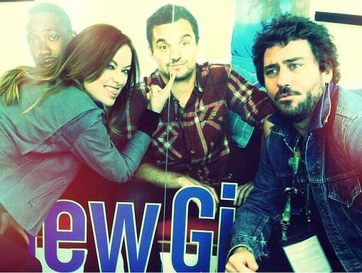 Olivia Wilde had some mature fun with her friend Jake Johnson's New Girl poster. Source: Twitter user oliviawilde