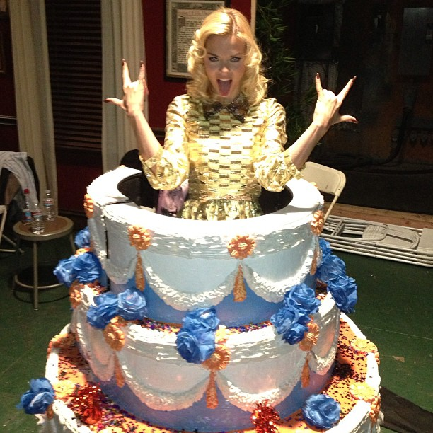 Jaime King popped out of a birthday cake on the set of Hart of Dixie. Source: Instagram user jaime_k