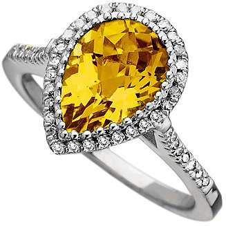 Mystic Light Diamond Citrine Empress Teardrop Cocktail Ring