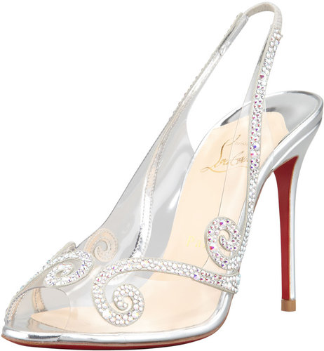Christian Louboutin Au Hameau Clear Crystal-Swirl Red Sole Slingback