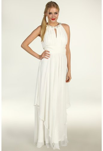 Eliza J - S/L Halter Neck Long Bridal Gown w/ Ruched Bodice Waist (Ivory) - Apparel