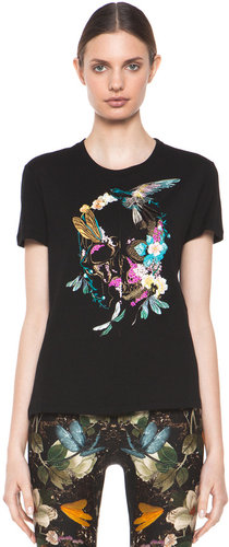 Alexander McQueen Embroidered Floral Bird Tee in Black