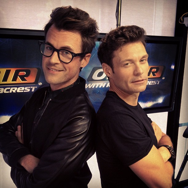 Brad Goreski and Ryan Seacrest posed back-to-back in matching black outfits. Source: Instagram user ryanseacrest