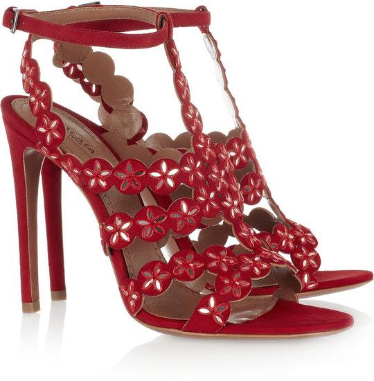 Alaïa Mirror-embellished suede sandals