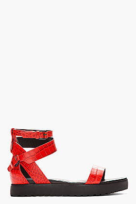 ALEXANDER WANG Red crocodile embossed Jade Flat Sandals