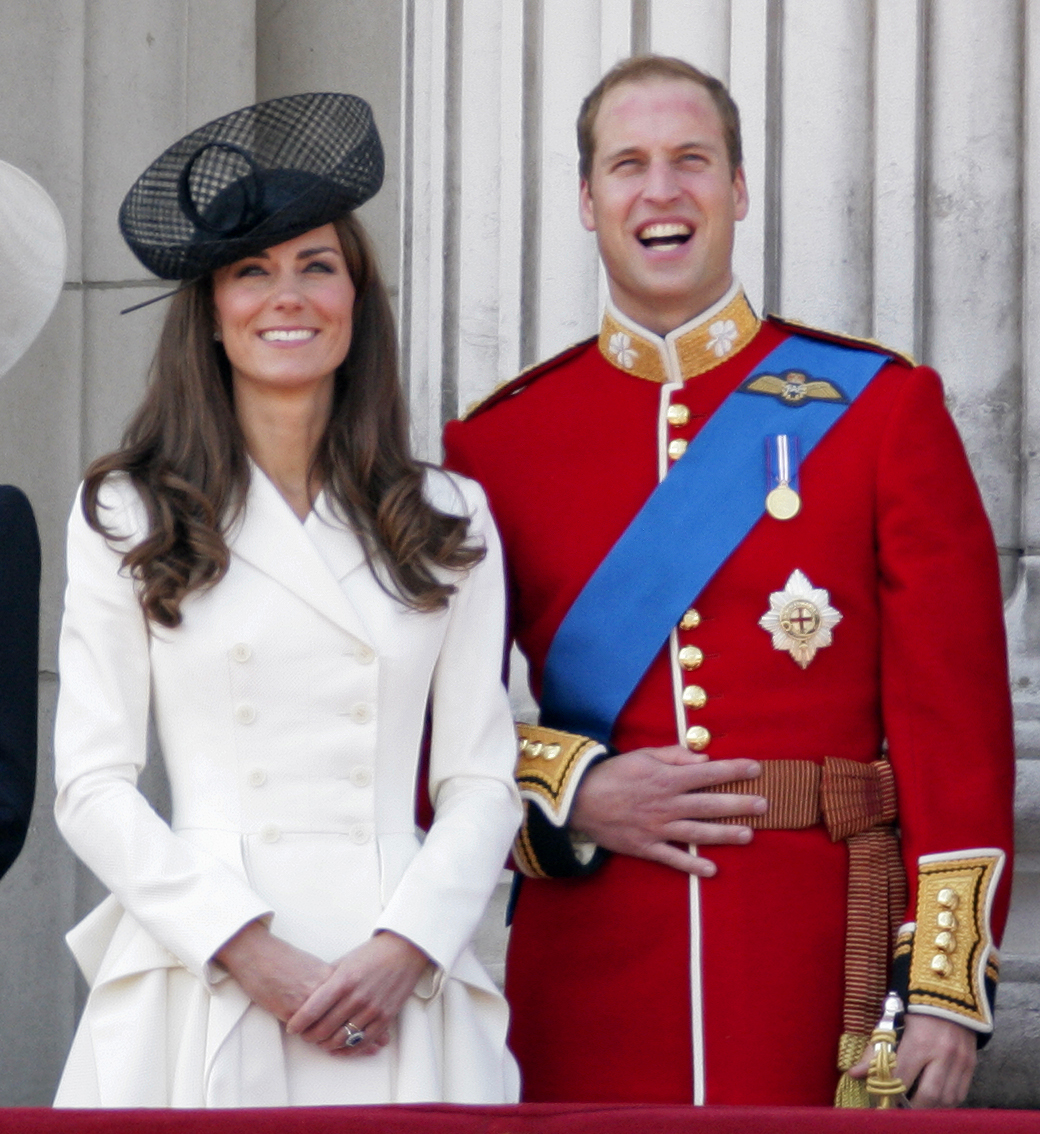 Kate Middleton and Prince William smiled big at a June 2011 Trooping the Color Parade in London.