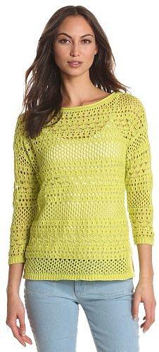 Leo & Nicole Women's Missy Open Weave Sweater