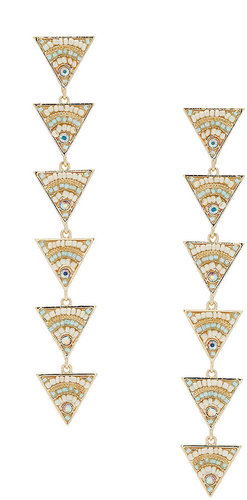 Perlenbesetzte Dreiecks-Hängeohrringe