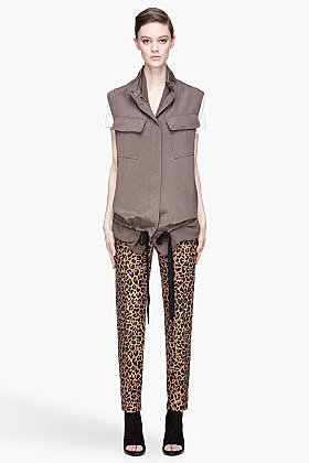3.1 PHILLIP LIM Dark grey Double Layer silk Utility Vest