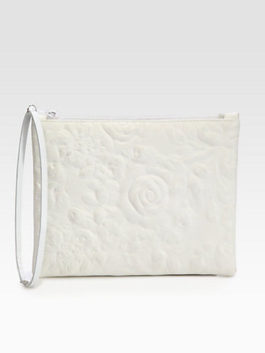Christopher Kane Rose-Embossed Leather Clutch