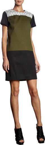 Proenza Schouler Colorblock Short Sleeve Dress