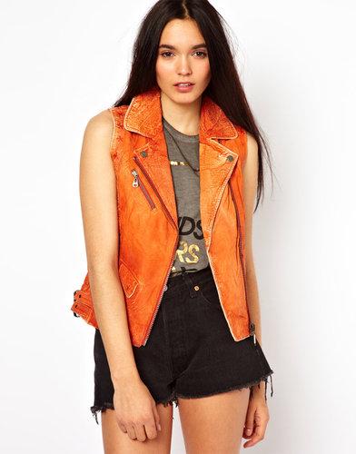 Doma Sleeveless Leather Biker Jacket