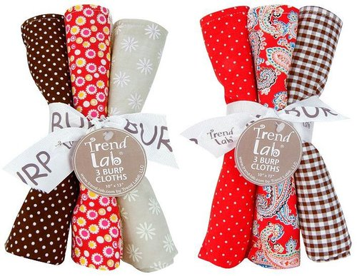 Trend lab chocolate kiss 6-pk. burp cloth set