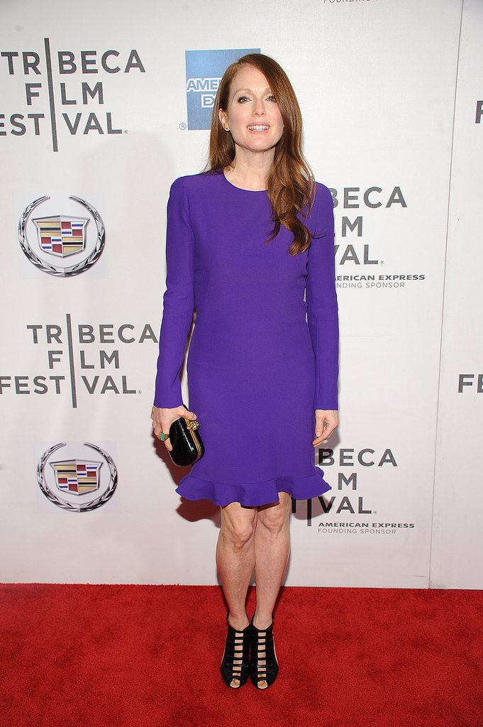 Julianne Moore stunned in purple for the premiere of The English Teacher.