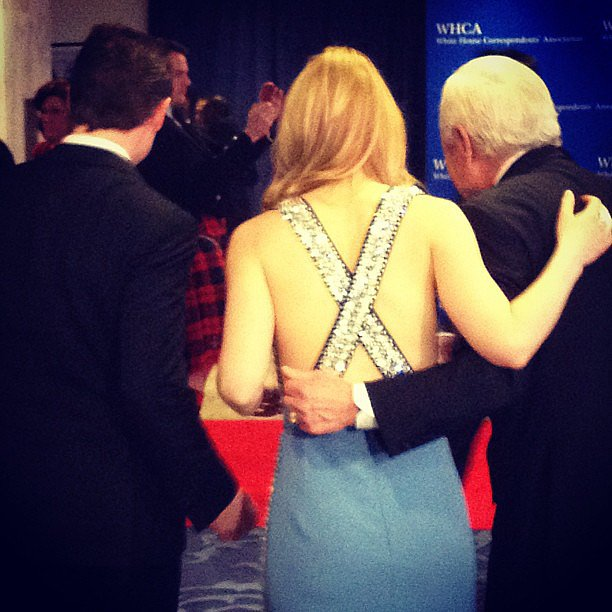 Claire Danes, who was wearing a gorgeous dress, walked arm in arm with CBS's Bob Schieffer into the dinner.