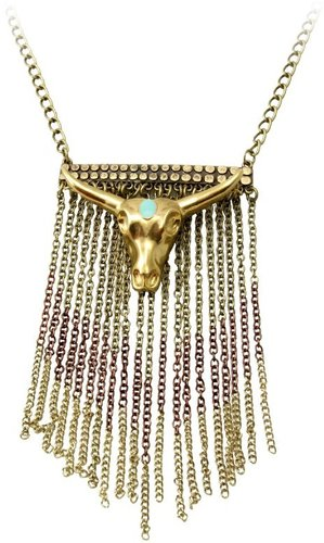 Wildfox Couture Antique Gold Fringe Necklace with Bullhead