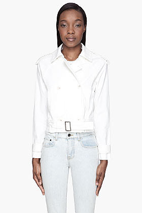 MM6 MAISON MARTIN MARGIELA White double-breasted trench Jacket