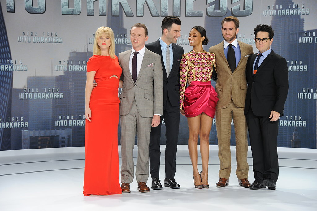 Alice Eve, Simon Pegg, Zachary Quinto, Zoe Saldana, and Chris Pine posed with Star Trek Into the Darkness director J.J. Abrams in Berlin.