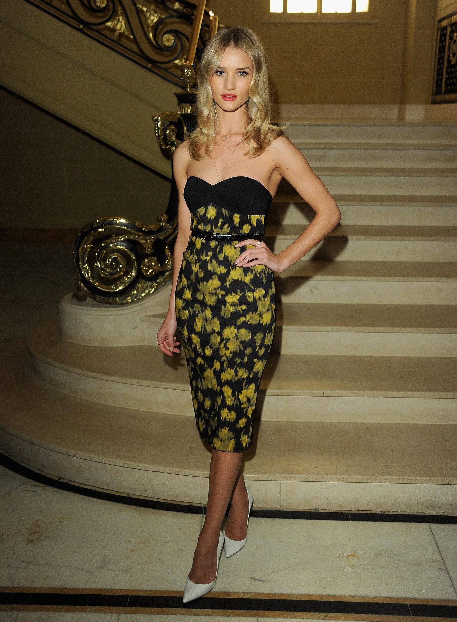 Rosie Huntington-Whiteley wore Pre-Fall 2013 Michael Kors at Vogue and Alexandra Shulman's dinner honoring Michael Kors in London.