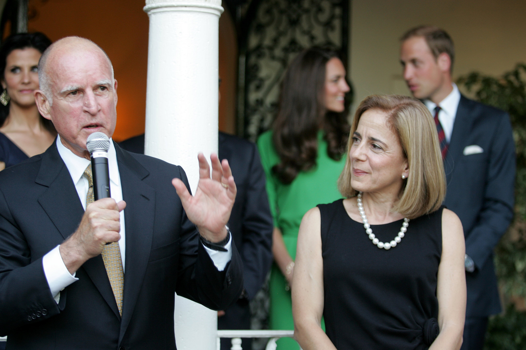 At a Summer 2011 reception with California Governor Jerry Brown, William and Kate seemed to steal a moment alone.